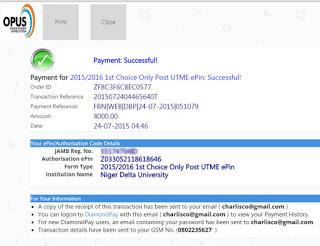 ndu post utme online payment reciept