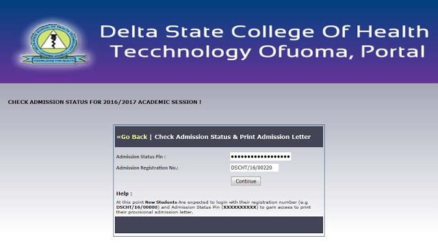 School of  Health Technology Ofuoma Admission Status