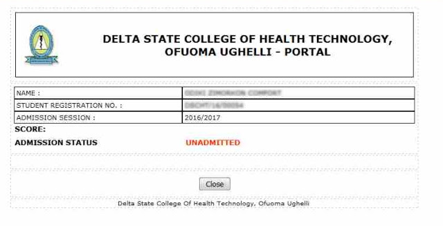 School of Health Technology Ofuoma Not Admitted