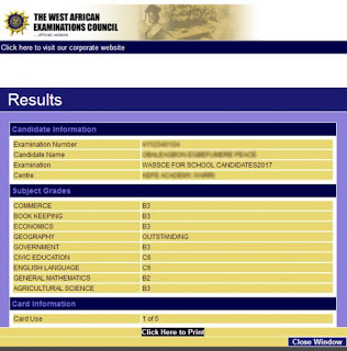 waec result checker sample