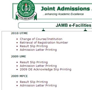 jamb portal for retrieval of registration number