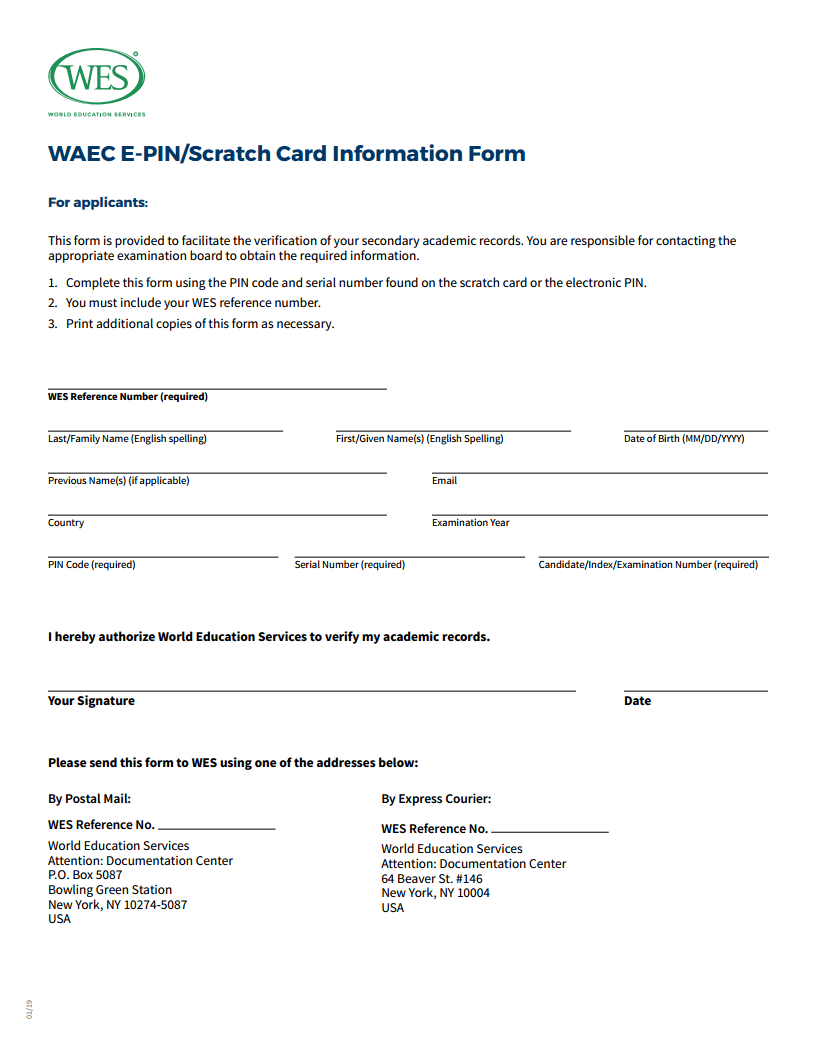 WES WAEC Scratch Card Form