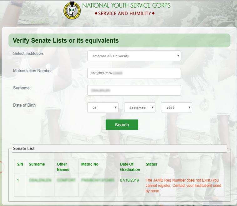 JAMB Reg Number Does not Exist
