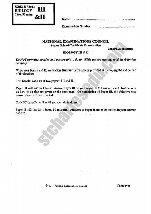 National Examination Council NECO Biology Past Questions