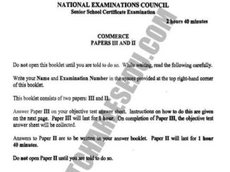 National Examination Council NECO Commerce Past Questions