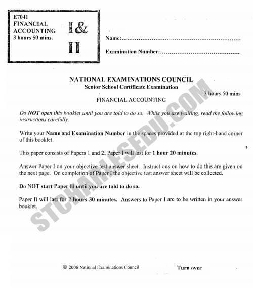 National Examination Council Financial Accounting Questions