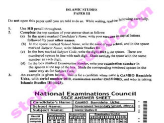 NECO Islamic Religion IRS Past Questions
