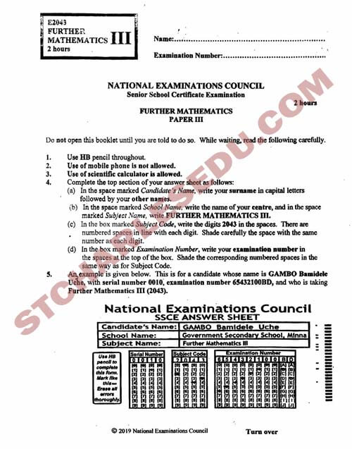 National Examination Council NECO Further Maths Past Questions