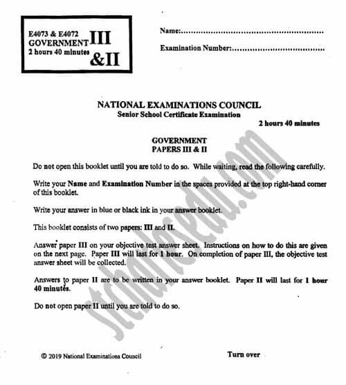 NECO Government Past Questions