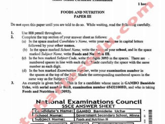 National Examination Council NECO Food and Nutrition Past Questions