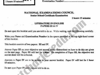 NECO Literature Past Questions Objective, Prose, Drama and Poetry PDF Download