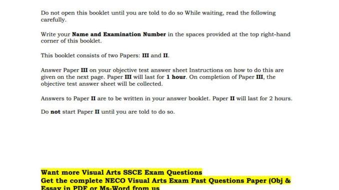 Visual Arts NECO Past Questions