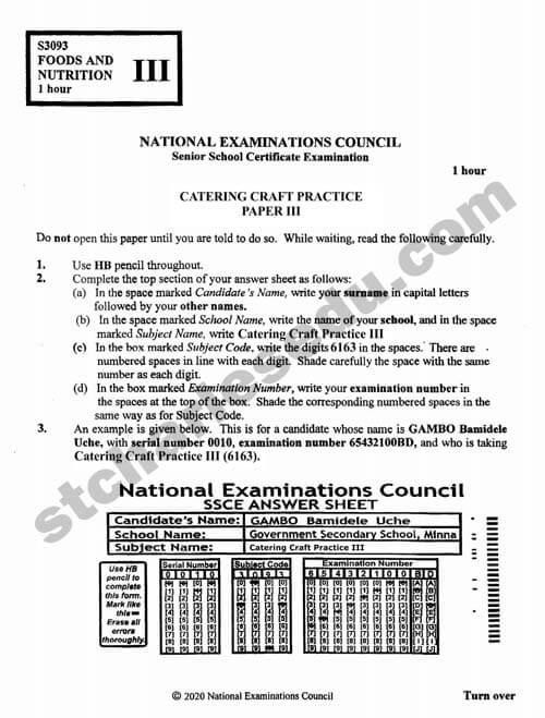 National Examination Council NECO Catering Craft Practice Past Questions