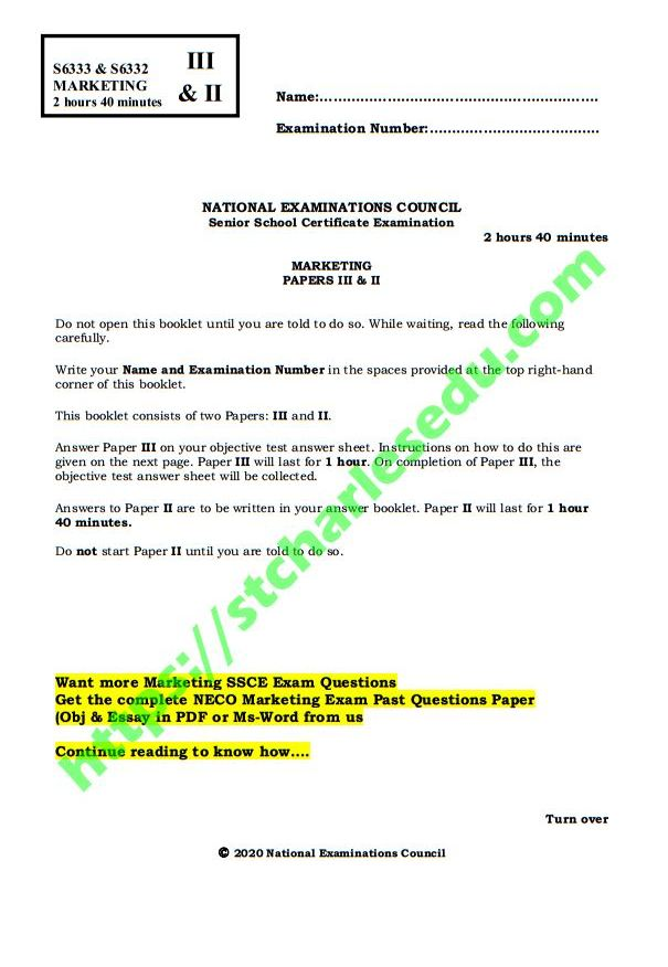 neco marketing past questions and answers pdf