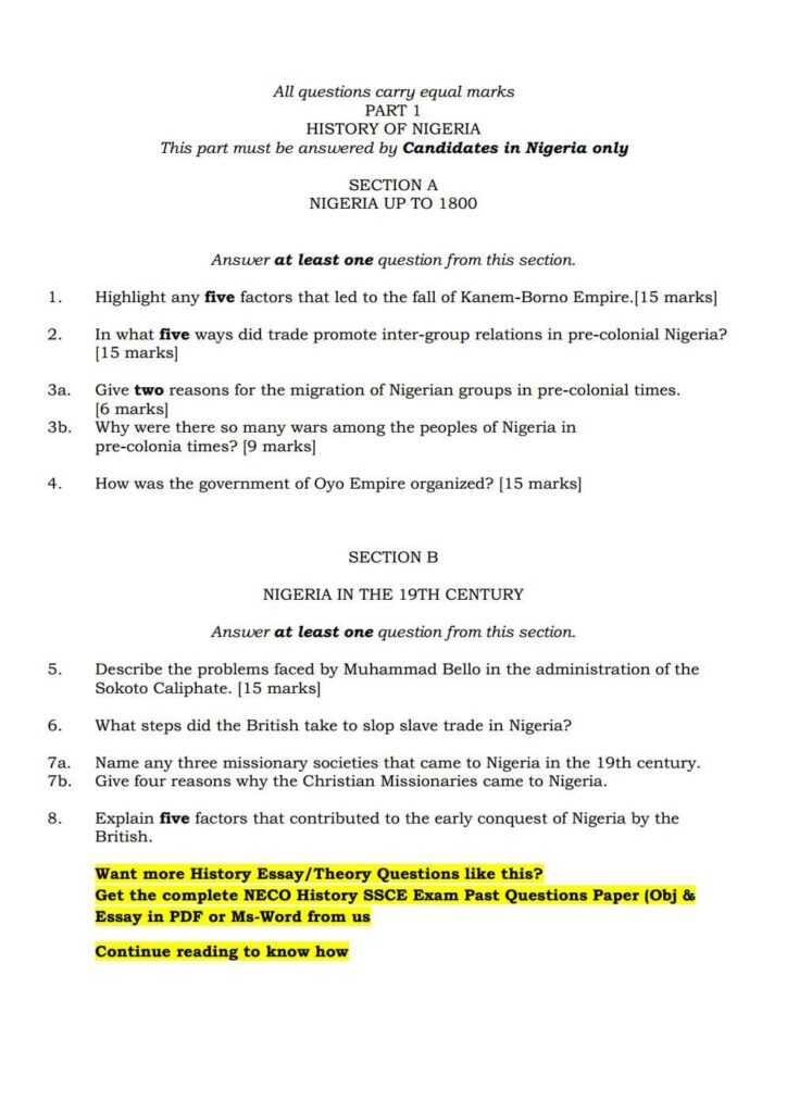 History Past Questions for SSCE Senior Secondary School