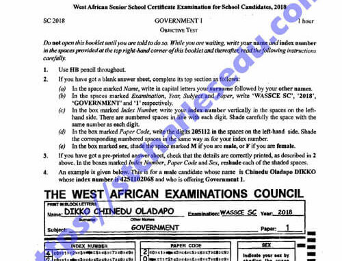 Download Government WAE past questions and answers