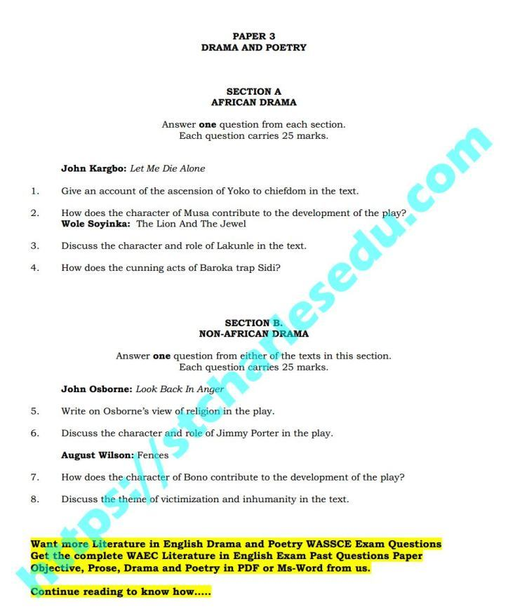 WAEC Literature in English Drama and Poetry Past Questions