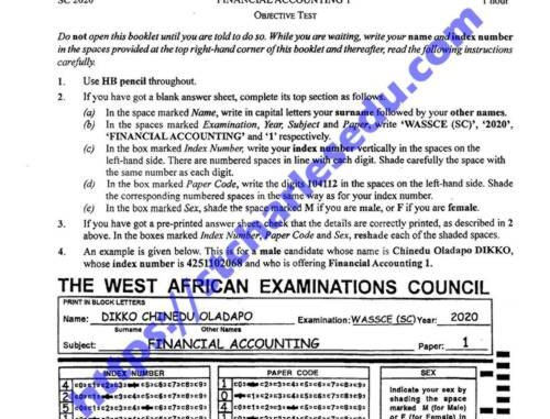 WASSCE Financial Accounting Past questions and answers