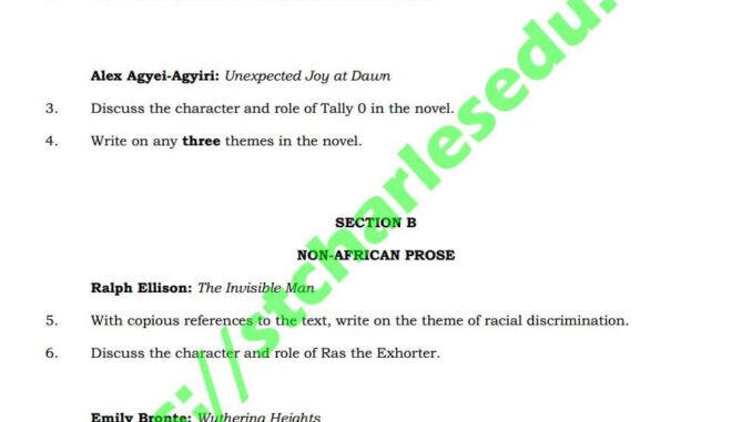waec literature prose question essay theory