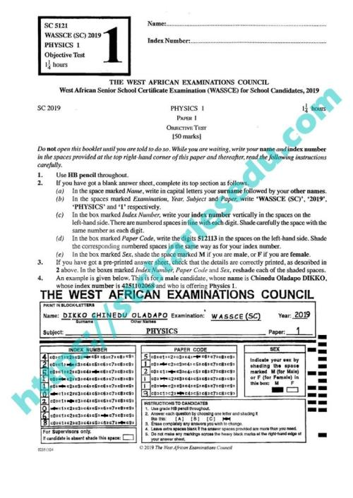 waec physics objective questions and answers